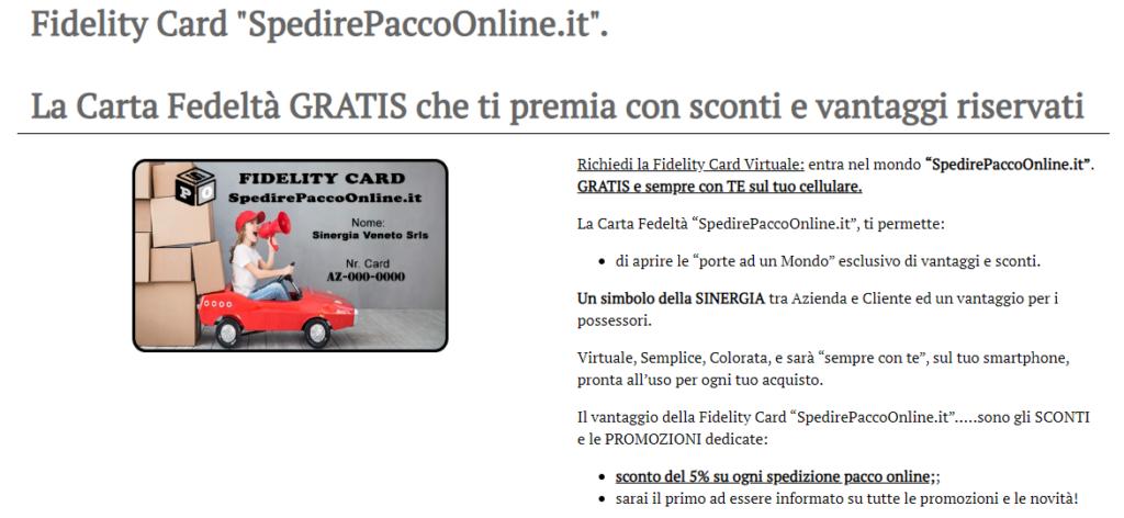 fidelity card SpedirePaccoOnline.it