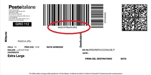 dove trovare tracking SDA sulla lettera di vettura