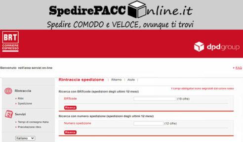 CERCA SPEDIZIONE: servizio online per tracciare un pacco spedito con corriere BRT